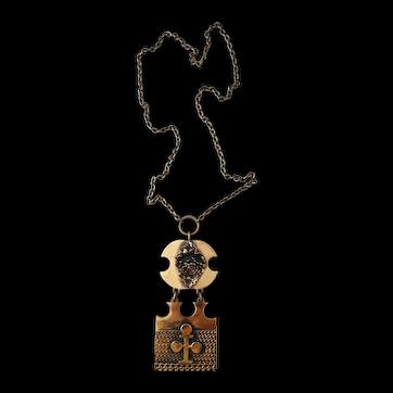Vintage bronze pendant by Finnish designer Pentti Sarpaneva