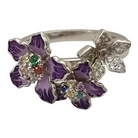 925 Silver ring with enameled flowers and zircons