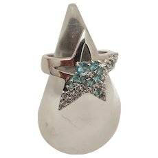 925 Silver ring with blue zircons signed Thierry Mugler