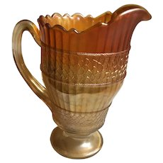 Fenton Scale Band Pitcher- Marigold Carnival Glass - 1908 - 1925