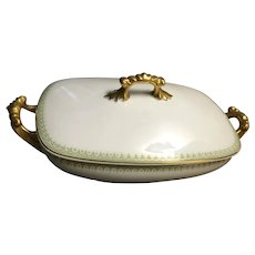 Jean Pouyat Limoges France Covered Serving Dish Gold Trim