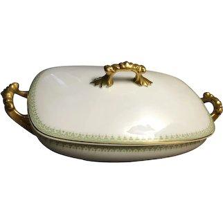 Jean Pouyat Limoges France Covered Serving Dish Gold Trim