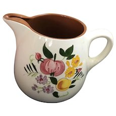 STANGL Pottery FRUIT & FLOWERS Large 64 Oz Pitcher with ice lip - 1958