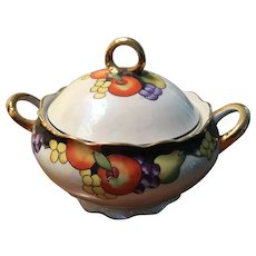 Vintage Noritake Double Handled Covered Serving Bowl - Handpainted Fruit & Gold Trim.
