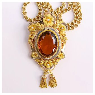 c.1880-90 Victorian Madeira Citrine 14k Gold Necklace Pendant Brooch with 10k Gold Chain