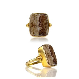 Edwardian 9k Gold Lace Agate Ring with Flower Blossom Shoulders