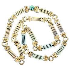 "Rare c. 1830 Late Georgian Early Victorian 15k Gold Sautoir Chain 30"" 50.8 grams, Neoclassical à la Grecque"