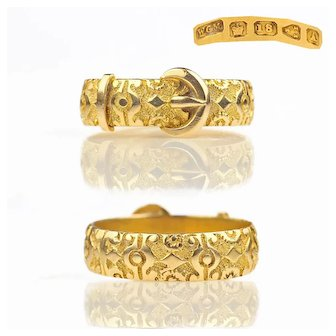 1884 Chased Victorian 18k Gold Buckle Ring Full English Hallmarks