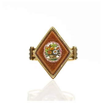 1860s Victorian Micro Mosaic Ring Giardinetti Flowers with Goldstone