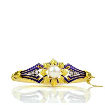 c. 1900-10s Belle Époque GIA South Sea Cultured Pearl 14k Gold Old European Cut Diamond Bangle Bracelet