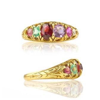 Victorian REGARD Acrostic Ring Ruby Emerald Garnet Amethyst Diamond Tourmaline 15k Gold