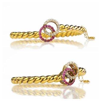 Victorian Belle Epoque Ruby Diamond 18k Gold Bracelet Eternity Circles Toi et Moi