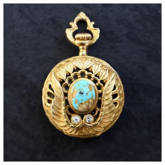 c. 1880-1900 Swiss Ladies' Pocket Watch Solid 18k Gold Turquoise Old Cut Diamonds