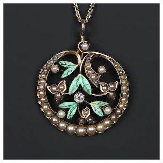 c. 1900s Art Nouveau Pendant with Old European Cut Diamond Enameled 10k Gold