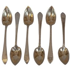American Sterling Grapefruit Spoons with Gilt Wash