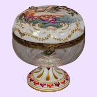 Antique Capodimonte Powder Jar with Neptune Cover