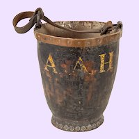 Antique Leather Fire Bucket with Copper Collar & Copper Rivets