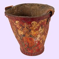 "English Painted Fire Bucket, 11"" tall"