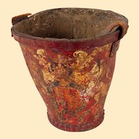 """English Painted Fire Bucket, 11"""" tall"""