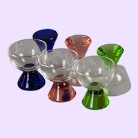 Set of 6 American Mid-century Glass Cordials with Pastel Bases