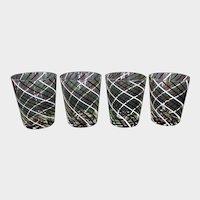 Set of four Italian latticino tumblers
