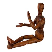 "Antique Articulated Wooden Artist's Mannequin, 32"" Tall"
