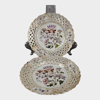 Pair reticulated Dresden floral plates