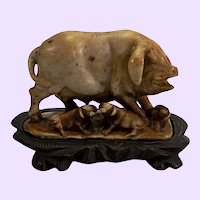 Chinese Hardstone Mother Pig with three Piglets