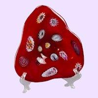 Murano Red Glass Zanfirico Footed Bowl