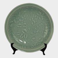 Korean carved celadon glazed dish
