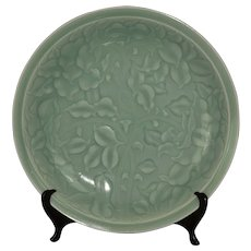 Korean carved celadon glazed dish