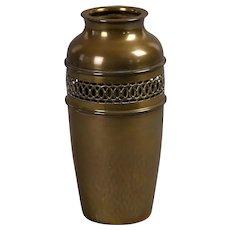 "Reticulated Arts & Crafts brass vase marked ""Purely British"""