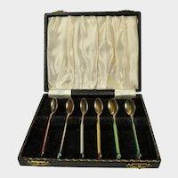 Boxed Set of 6 Norwegian Enameled  Coffee Spoons
