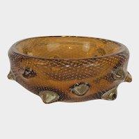 Barovier Italian Venetian murano  Amber Glass Bowl with bubbles