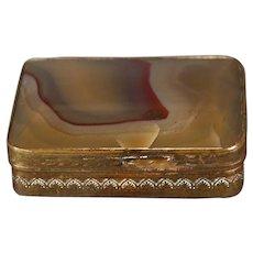 Welsh Agate and Gilt Copper Pill Box circa 1840
