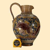 Large German loop-handled salt-glazed jug