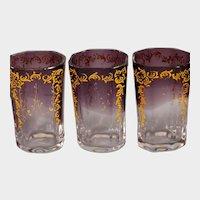 SIX Moser art nouveau amethyst glass cordials
