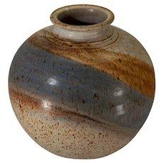 Striped stoneware vase or planter