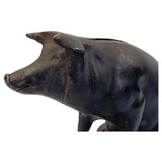 Vintage American Cast Iron Piggy Bank