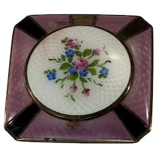 Colorful Square French Guilloche Enamel Powder Compact