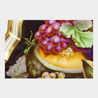 """Bohemian hand-painted fruit plate,  17""""x13"""""""