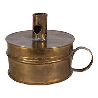 American Brass Tinder Box With Candlestick Holder