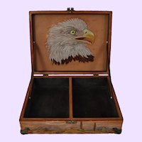"""Native American Hand-tooled Leather Box, 11.75"""" x 3.5"""""""