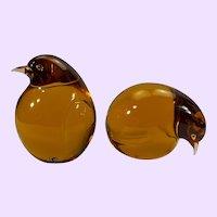 Pair Murano Venetian amber glass birds by Seguso