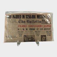 Historic Newspaper, 1924 Leopold and Loeb Murder