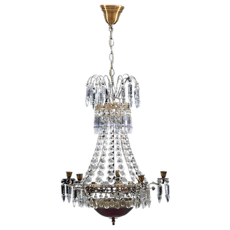 Empire chandelier 1900's with rare red glass bowl