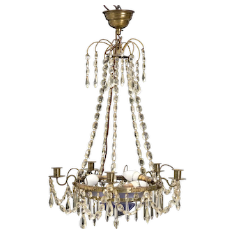 Gustavian chandelier 1900's with blue bowl