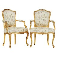 Pair of Louis XV style armchairs early 1900's