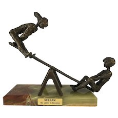 Jesse C Beesley Signed Bronze Boy And Girl On Teeter-Totter SeeSaw Sculpture