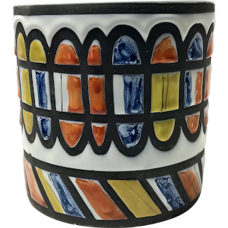 Roger Capron For Vallauris, Signed Ceramic Superbly Decorated Cache Pot